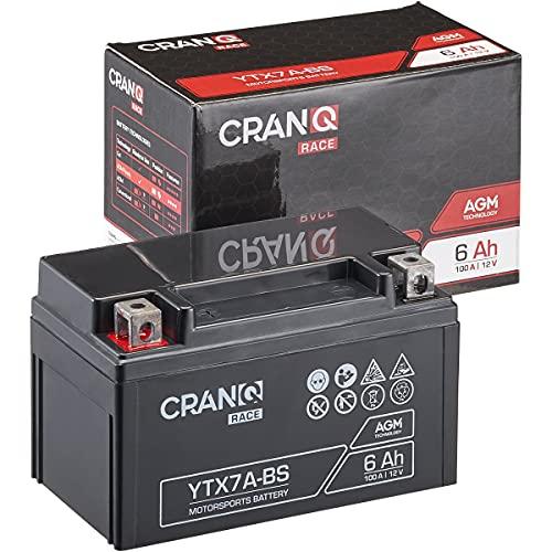 CranQ 12V 6Ah 100A AGM-Batterie YTX7A-BS Motorradbatterie rüttelfest Roller Starterbatterie leistungsstark, wartungsfrei