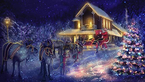 XYDH Puzzles For Adults 1000 Piece Jigsaw Puzzle - Christmas Tree Reindeer Santa Sleigh- Educational Intellectual Decompressing Toy Puzzles Fun Family Game For Kids Adults/75 * 50CM