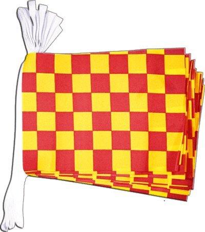 Digni Guirlande 15 Drapeaux Damier Rouge-Jaune - 5,9 m Sticker Gratuit
