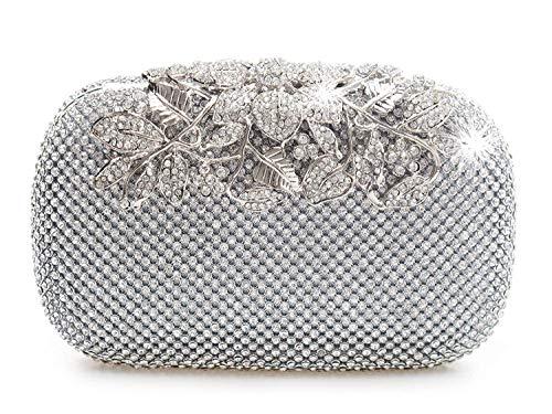 Bolso de fiesta con cristales de diamante, color plateado, con cierre de broche. Estilo...