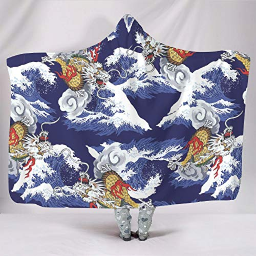 Hothotvery Hooded Blanket Printed Japan Wave Blanket with Hood Elegant Duvet for Most People White 10 130 x 150 cm