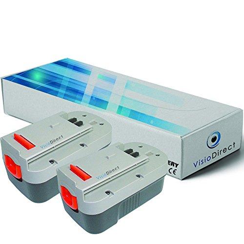Lot de 2 batteries pour Black et Decker Firestorm FS18HV aspirateur à main 3000mAh 18V - Visiodirect -