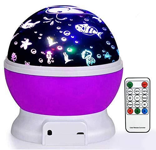 MaxDigi Proiettore Luce Notturna Ricaricabile, Bluetooth Colorato Lampada Notturna per Bambini Rotazione 3 Modi Romantico Regalo Magico Giocattoli Giocattoli Apparecchio Dormire Viola