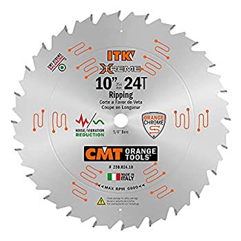 CMT 250.024.10 ITK Industrial Rip Saw Blade 10-Inch x 24 Teeth 1FTG+2ATB Grind with 5/8-Inch Bore
