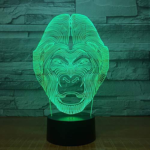 Chimpancé 3D Lámpara de mesa Juguete para niños Regalo Color de cambio Efecto de animales Forma de orangután Simios Luz LED Noche con lámpara de escritorio