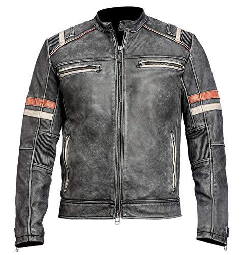 Flair & Bold Chaqueta de cuero retro para hombre Cafe Racer 2   Chaqueta de cuero hecha a mano   Chaquetas de cuero originales   Chaqueta de cuero negro retro