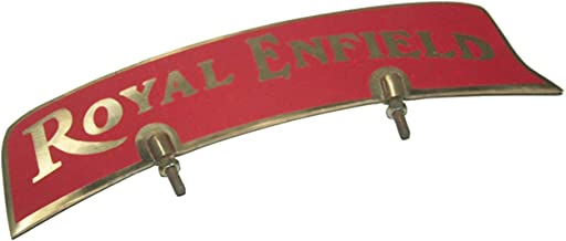 Uniq World Wide Royal Enfield Brass Made Red Sticker Front Mudguard Number Plate