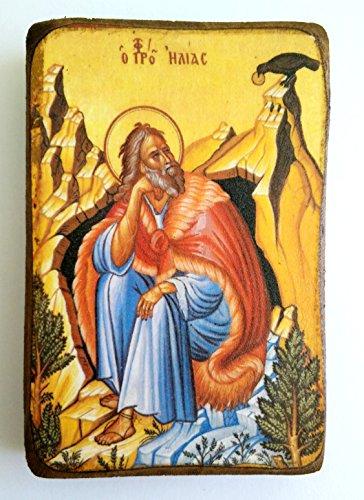 Griechisch-christliche-orthodoxe Holzikone des Heiligen Elias / A0