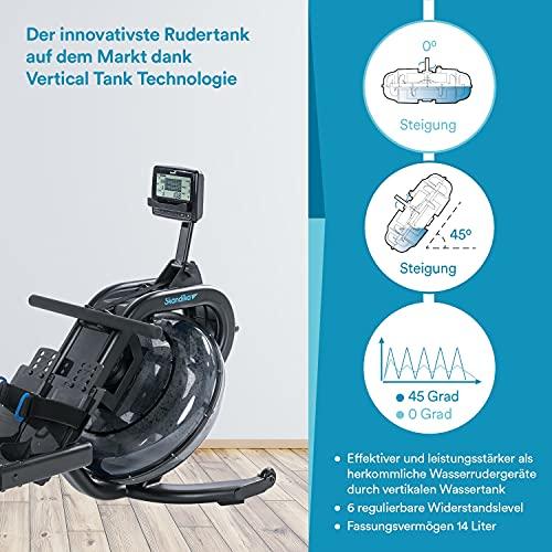 Skandika Wasser Rudergerät Nemo IV/V | Water Ruderzugmaschine mit regulierbaren Wasserwiderstand | Double-Slide-Konstruktion | Rower mit Multi-Funktionen Computer + Tablet-Halterung - 5