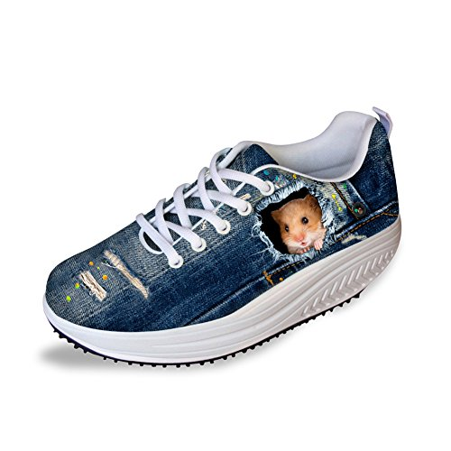 HUGS IDEA Kawaii Hamster Printed Women's Platform Toning Shoes Fitness Walking High Hell Sneakers US8