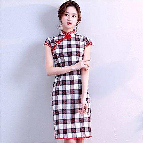 YAN Vestido de Mujer Nuevo Vestido de Partido Chino de la Tarde Corta de Cheongsam Qipao Despacho Mismo Día de Trabajo de la Boda del Cóctel Diario vistiendo (Color : Rojo, Tamaño : XXXL)