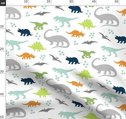 Dino, Dinosaurier, Marineblau, Kinderzimmer, Mint Und Marineblau Stoffe - Individuell Bedruckt von Spoonflower - Design von Westandarrow Gedruckt auf Bio Baumwoll Interlock-Jersey