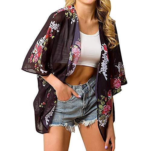 Kimono de gasa con estampado floral para mujer - Negro - Small