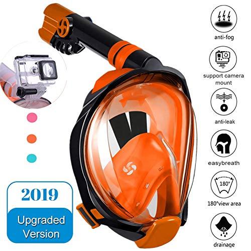 Numyton Schnorchelmaske Tauchmaske Vollgesichtsmaske mit 180° Sichtfeld und Kamerahaltung, Dichtung aus Silikon Anti-Fog und Anti-Leck Technologie für Erwachsene, S/M Orange
