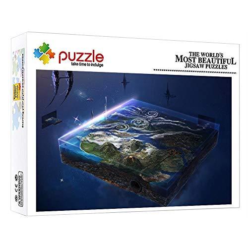 ZTCLXJ Niños Rompecabezas para Niños Adultos 1000 Piezas Puzzles Puzzle Mundo Surrealista En Un Cubo Educativos Juegos para Desarrollar Aficiones (52 × 38 Cm)