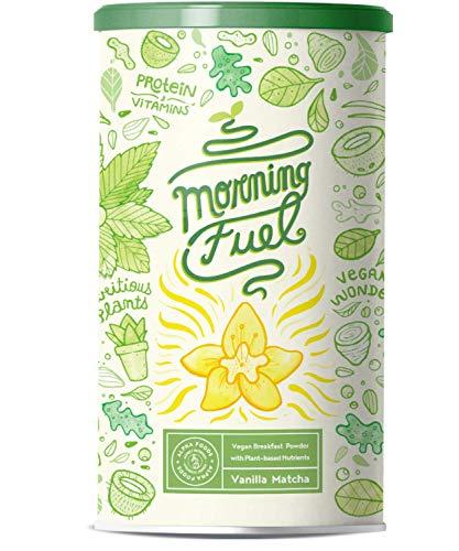 Morning Fuel | Miscela MATCHA alla VANIGLIA per colazione | Proteine di piselli germogliati, quinoa, chia, olio MCT, avena, alghe, erba medica, spinaci, maca | Vitamine B6+B12 | 600g in polvere
