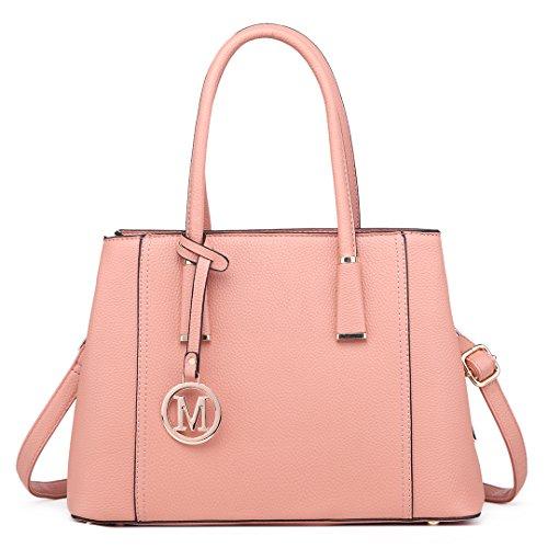 Miss Lulu Handtasche Schultertasche Tote Bag Umhängetasche Shopper Taschen Henkeltasche (Rosa)