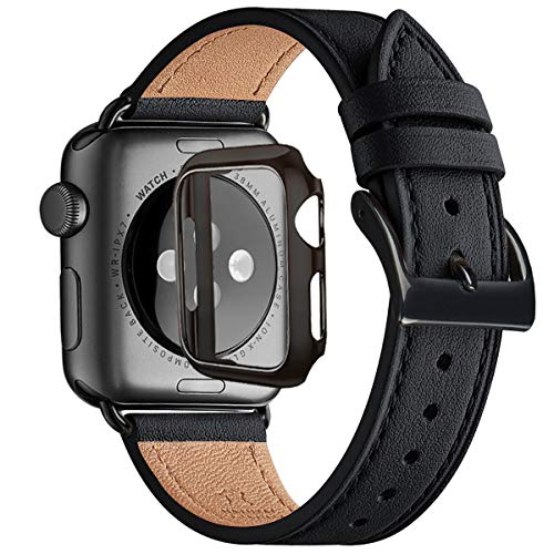 WFEAGL Strap Compatible for Apple Watch 42mm 44mm,38mm 40mm Strap,Top Grain Leather Band Replacement Strap with Stainless Steel Clasp for Watch Series 5/4/3/2/1,(42mm 44mm,Black+Black Square Buckle)