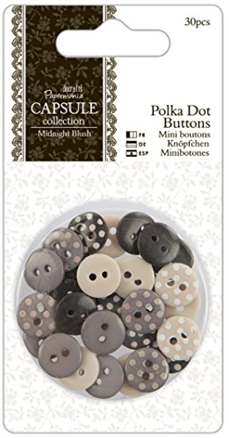 docrafts Papermania Midnight Blush Polka Dot Buttons, 30-Pack