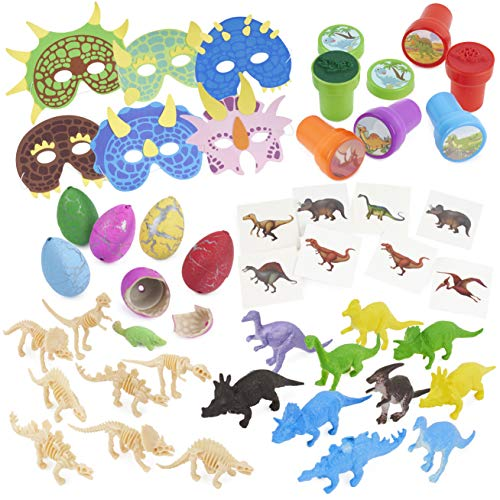 THE TWIDDLERS 80 Stück Dinosaurier Party Mitgebsel Spielzeug| Dino Figuren Fossile Skelette Stempel Tattoo Eier Masken| Weihnachten Kindergeburtstag Pinata Gastgeschenke Mitbringsel Give Aways.