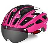 VICTGAOL Casco Bicicleta Helmet Bici Ciclismo para Adulto con Luz Trasera LED Visera Extraíble Hombres Mujeres Adultos de Bicicleta para Montar (Rosado)