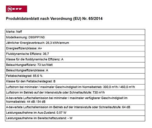 Neff D95IPP1N0 Dunstabzugshaube schräg N70 / 90cm / Abluft oder Umluft / EfficientDrive / TouchControl / Energieeffizienz A / Klarglas / schwarz - 11