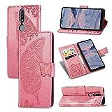 UPOLW-B pour Nokia 2.4, étui Portefeuille en Cuir Embossé Papillon Pressé, étui pour Support...