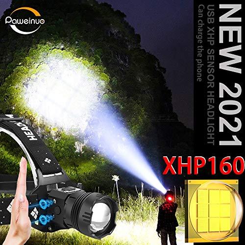FODFKL 1000000LM XHP160 Powerful IR Sensor LED Headlamp XHP90 Head Flashlight 18650 Rechargeable USB Fishing Headlight Hunting lanterne