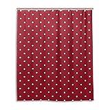LUPINZ Duschvorhang mit weißen Punkten & rotem Hintergr&muster, wasserdicht, für Badezimmer, 152,4 x 182,9 cm