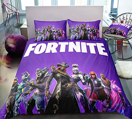 HDBUJ Game 3D Character Printing Bedding 3-Piece Set, Soft Polyester Duvet Cover Set, With Zipper, Easy To Remove, Two Pillowcases 260X220Cm