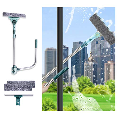 Window Squeegee Cleaning Tool, 3 in 1 U Shaped Cleaner Kit with Extension Pole, Telescopic Double Sided Cleaner for High Floor Window