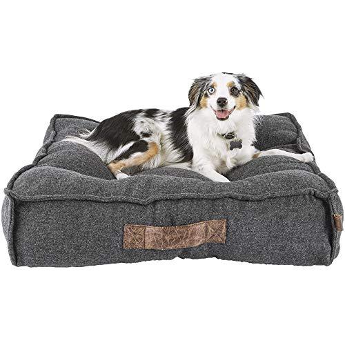 "PETCO Brand - Harmony Grey Lounger Memory Foam Dog Bed, 28"" L x 28"" W, Medium, Gray / White"