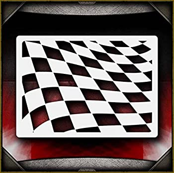 Waving Checkers AirSick Airbrush Stencil Template