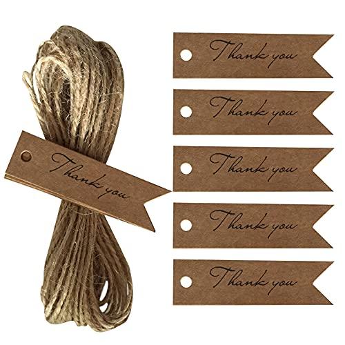 Tomodoks Geschenkanhänger (2 x 7 cm), braunes Kraftpapier, kleine Flaggen, mit 10 m Jute-Schnur für Kunst & Handwerk, Hochzeiten, Valentinstag & Weihnachten, 100 Stück