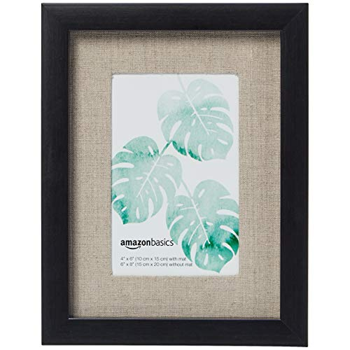 Amazon Basics Bilderrahmen Holz, Galerie-Stil, 15 x 20 cm für Bilder mit einer Größe von 10 x 15 cm, Schwarz, 2 Stück