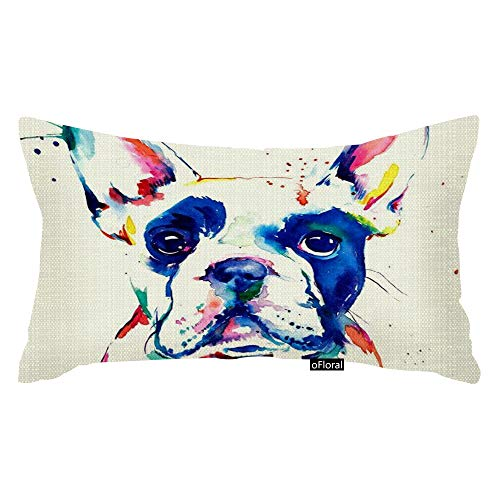oFloral Dog Art Watercolor Throw Pillow Case 12 X 20 Inches Best Choice for Gril Friend, Room, Him, Car Seat, with 2 Sides Pattern Sofa Lumbar
