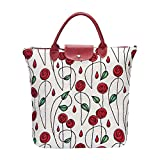 Signare Tapestry arazzo Borsa Riutilizzabile Shopper Donna, Shopping Pieghevole Borsa, olding Shopping Bag Donna con Disegni Floreali (Rosa Mackintosh)