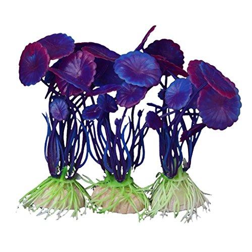TENDOC 3 PCS Simulation Aquatic Plastic Plants Aquarium Ornament Decorations -Purple