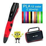 Saywe 3D Pen with 12 Color PLA Filament,DIY 3D Drawing Pen with LCD Display,Printing Speed and Temperature Adjustable,Creative Gift for Children's Day