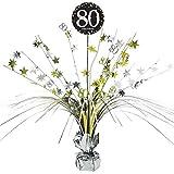 Feste Feiern Tischdeko zum 80. Geburtstag I 46cm Tischaufsteller Kaskade Tischaufsatz Zahl 80 Gold...