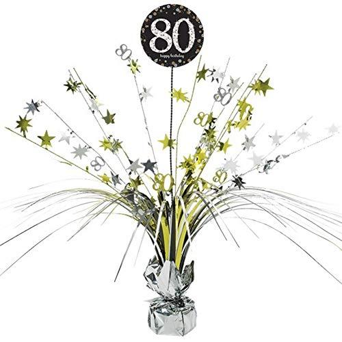 Feste Feiern Tischdeko zum 80. Geburtstag I 46cm Tischaufsteller Kaskade Tischaufsatz Zahl 80 Gold Schwarz Silber metallic Party Deko Set happy birthday 80