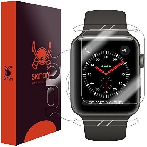 Skinomi TechSkin, Pellicola Protettiva per Apple Watch Serie 3 (42 mm), Parte Anteriore e Parte Posteriore. Impermeabile.