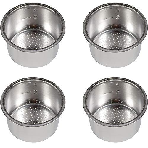 Gaetooely 4 Piezas Reemplazo de Filtro de 4 Tazas de 51 Mm Canasta de Filtro para Café Portafiltro Sin Fondo para Piezas de Máquina de Café Espresso