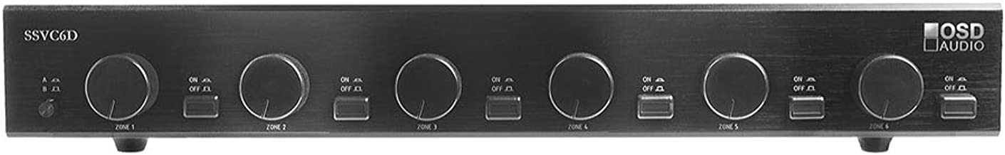 OSD Audio 6-Zone Speaker Selector – 300W Dual Source and Volume Control - SSVC6D