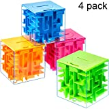 4 Pieces Money Holder Maze Puzzle Gift Box, A Fun Unique Way and Brain Teasers to People You Loved, Great for Birthday, Valentine's, Green/Blue/Orange/Red, 7.7 cm