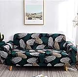 QLCUY Fundas Sofa Elasticas,3-Plazas Pluma Esmeralda Sofás Cubierta De Sofa Estampadas Cubre Sofa,Desmontable Y Lavable,Fundas Protector para Sofás Sillones.Tamaño Aplicable:190-230Cm
