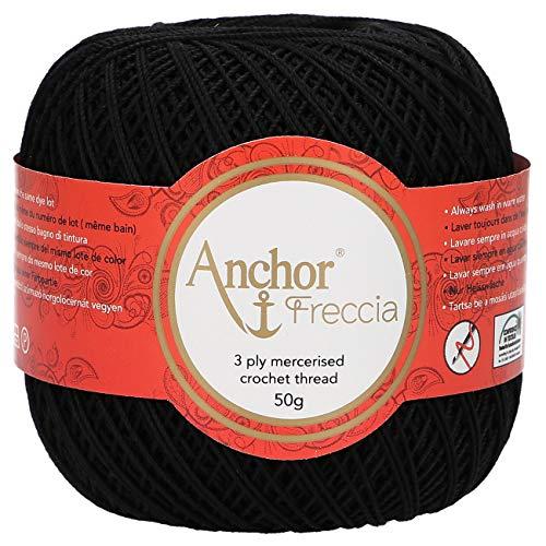 Anchor Freccia Stärke 12 4771012-00403 schwarz Häkelgarn, 100 % Baumwolle