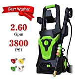 PowRyte Elite Electric Power Washer, Electric Pressure Washer with 4 Interchangeable Spray Tips,High Pressure Cleaner with External Detergent Tank: 3800PSI 2.6GPM(Green)