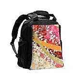 Bolso cambiador Mochila Colores y flores en estilo japonés Wa01 0 Bolso cambiador Mochila Mochila de viaje multifunción con pañal Cambiador para el cuidado del bebé