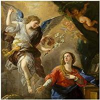 ルカジョルダーノ受胎告知アートプリントポスター油絵キャンバス家の装飾壁アート-70x100cmx1フレームなし